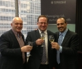Hussein Amad (President & CEO, Yorkville Asset Management Inc.), Mike Petersen (President, Southbridge Capital Inc.) & Ralph Desando (Director Private Equity, Yorkville Asset Management) - Officially launch the Southbridge Health Care Fund with a toast.